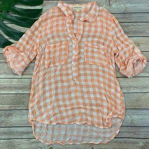 Cloth & Stone orange gingham check popover top